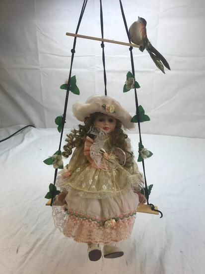 """25"""" Tall Porcelain Girl Doll on Hanging Bench"""