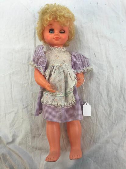 "20"" Plastic Girl Doll with Purple Dress"
