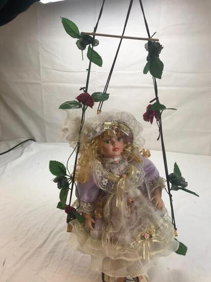 """27"""" Tall Porcelain Girl Doll on an Hanging Bench"""