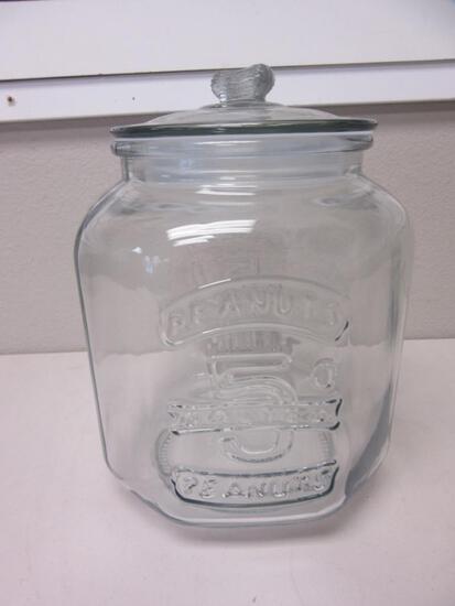 "Vintage Planters 5 Cent Mr. Peanut Glass Jar 11"""