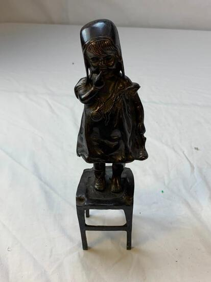 Vintage Cast Iron Girl Standing On Chair