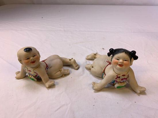 Lot of 2 Oriental Chinese Baby Crawling Figurines