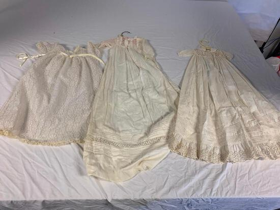 Lot of 3 Vintage White lace Children Dresses