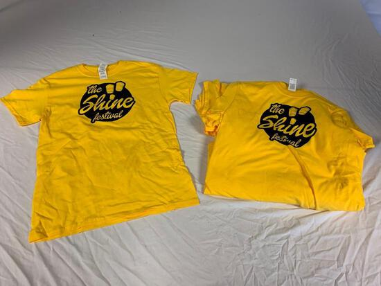 Lot of 12 THE SHINE FESTIVAL Yellow T-Shirts