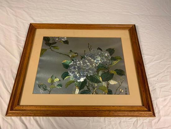 Framed Japanese Foil Print of Flowers and Bird