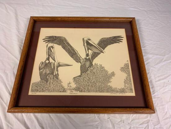Chrishaw Lombardi PELICANS Signed number framed Print