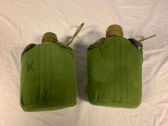 Lot of 2 Plastic Canteens Green Military