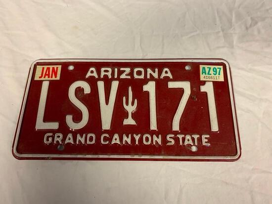 Vintage 1980's Arizona Maroon License Plate