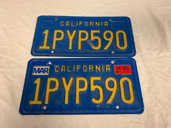 Vintage California Blue Yellow License Plates Set
