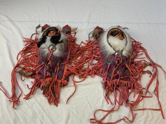 2 Native American Indian Doll Baby Papoose Cradle