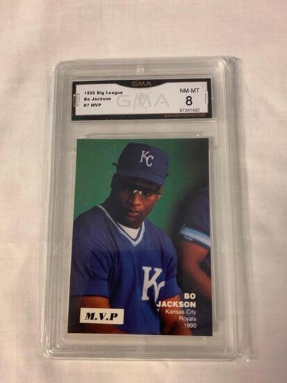 BO JACKSON 1990 Big League Baseball Card Graded 8