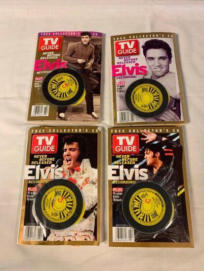4 ELVIS PRESLEY TV Guides with 4 mini Sun Records