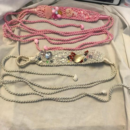 Lot of 2 Pink and White Rope Belts with Shell and Bead Embellishments