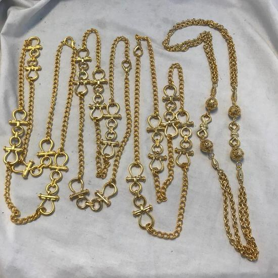 Lot of 4 Misc. Gold-Toned Chain Necklaces
