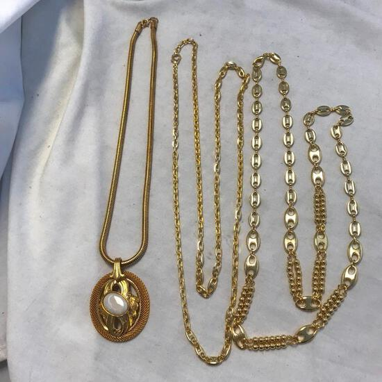 Lot of 3 Gold-Tone Necklaces