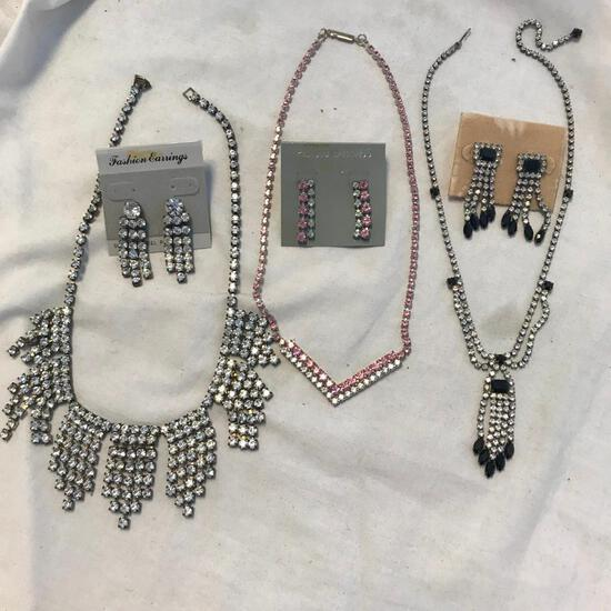 Lot of 3 Rhinestone Necklace and Earring Sets