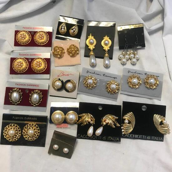 Lot of 15 Gold-Tone and Faux Pearl Earrings