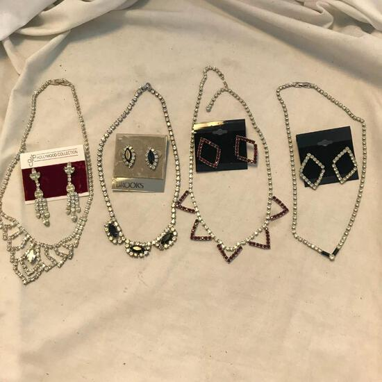 Lot of 4 Rhinestone Necklace and Earring Sets