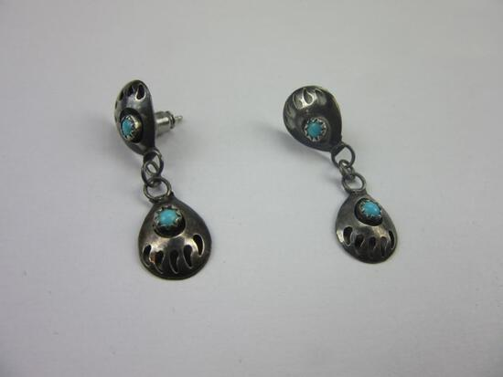 Pair of .925 Silver Turquoise Earrings