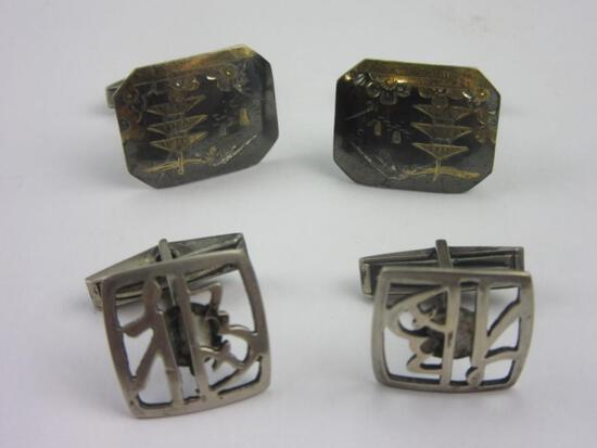 Lot of 2 Pairs of .925 Silver Cufflinks 14.8g