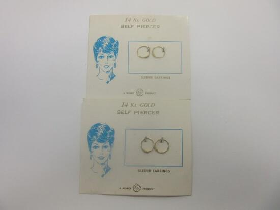 Two Pairs of 14K Gold Sleeper Earrings 0.4g Total