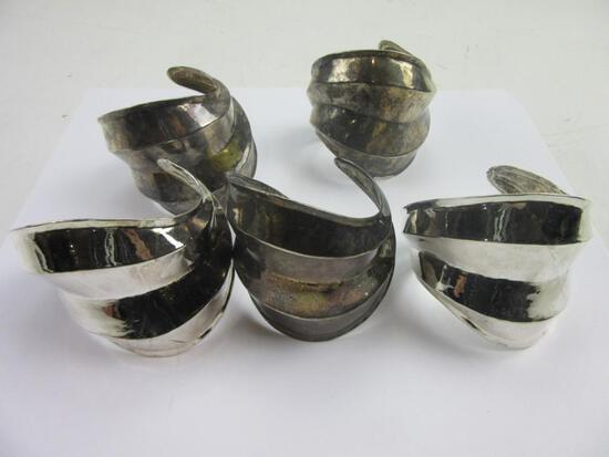 Lot of 5 Large Silver-Tone Cuff Bracelets