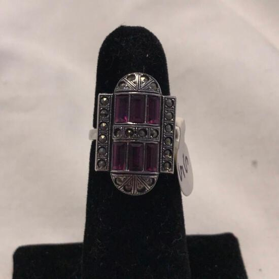 """""""Clark and Coombs"""" Sterling Silver Ring with Purple Gem Details (Size 5)"""