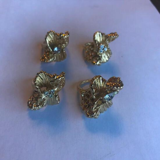Lot of 4 Similar 18KT G.E. Rings with Cubic Zirconia Center Gems