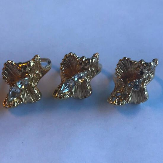 Lot of 3 Similar 18KT G.E. Rings with Cubic Zirconia Center Gems