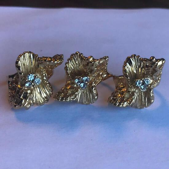 Lot of 3 Identical 18KT G.E. Rings with Cubic Zirconia Center Gems