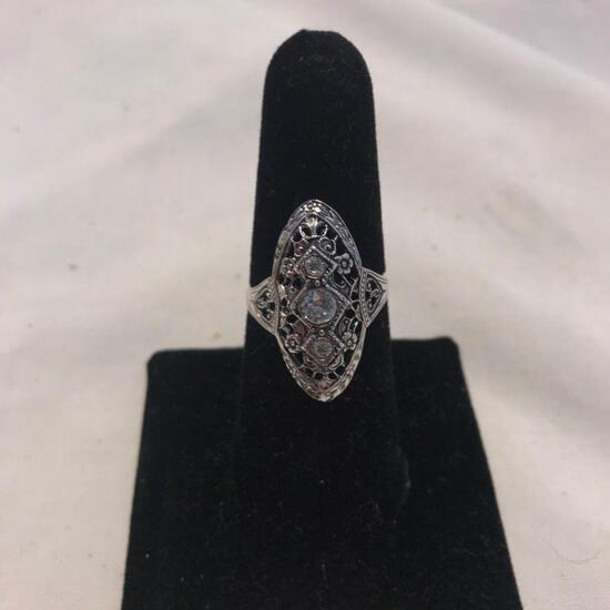 14KT Gold Electroplated Ring with Clear Gem Detail (Size 8)