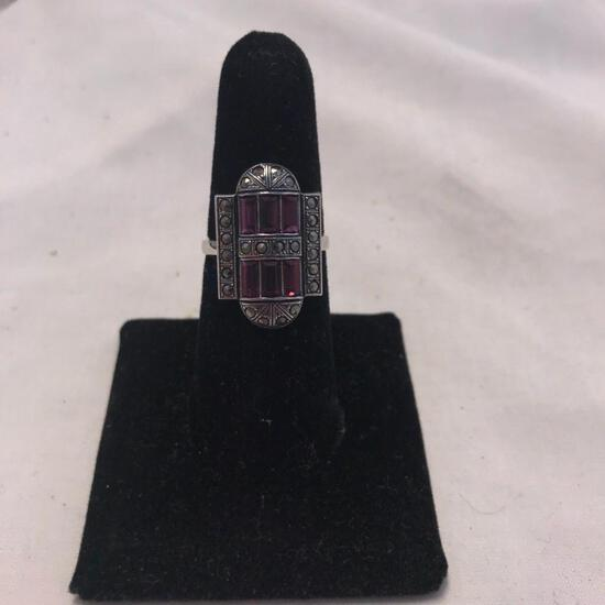 Clark and Coombs Sterling Silver Rings with Purple Gem Detail (Size 7)