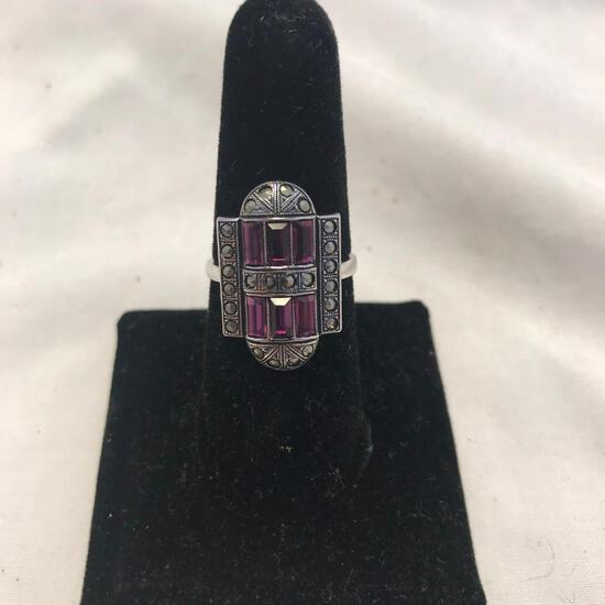 """""""Clark and Coombs"""" Sterling Silver Rings with Purple Gem Detail (Size 8)"""