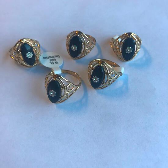 Lot of 5 Identical 14KT Gold Electroplated Rings, with Black Center Stones and Flower Embellishments