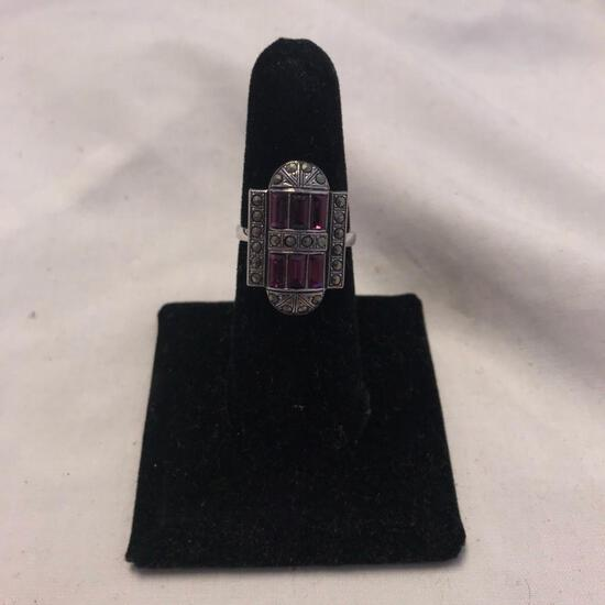 """""""Clark and Coombs"""" Sterling Silver Ring with Purple Gem Details (Size 7)"""