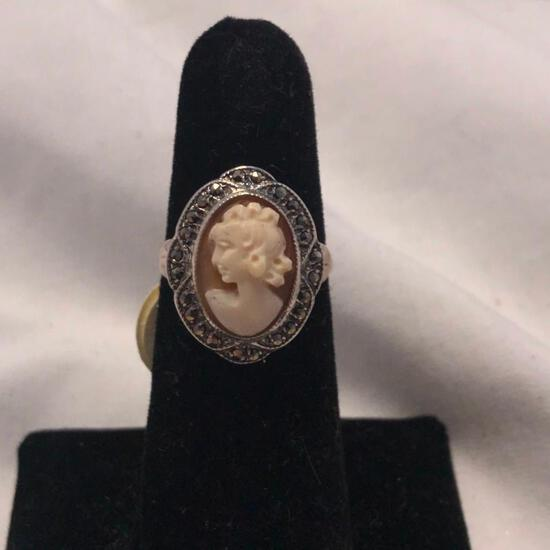 THEDA Genuine Cameo Sterling Ring (Size 6)