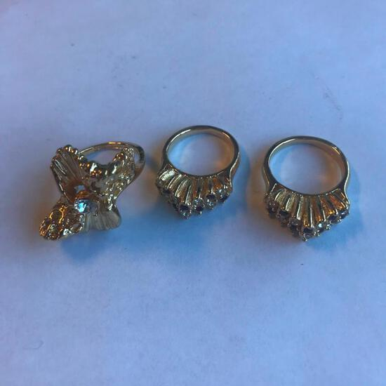 Lot of 3 Misc. 18KT Gold Electroplated Rings with Cubic Zirconia Center Gems