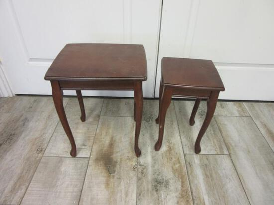 """Pair of Wooden Foot Stools 17.5"""" and 15.5"""""""