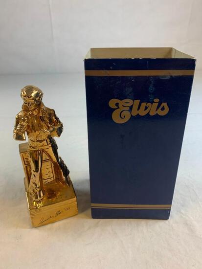 1977 ELVIS PRESLEY McCormick Whiskey Decanter & Music Box ELVIS GOLD