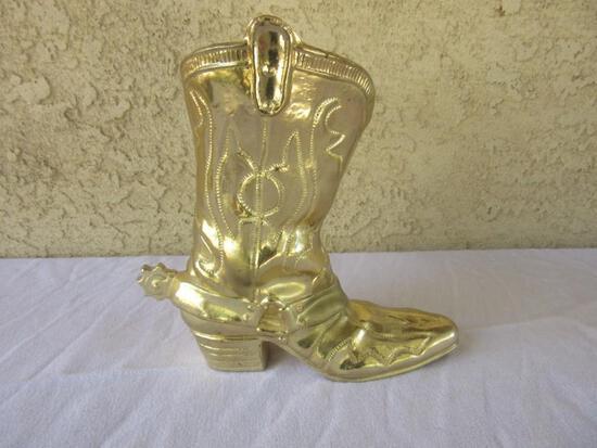 """Gold-Tone Boot Matchstick Holder 8.5"""" Tall"""