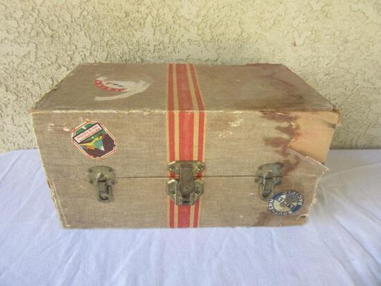 "Antique Miniature Suitcase for Children's Toys 9""x16""x8.5"""