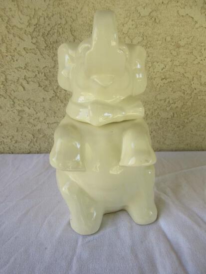 "White Ceramic Elephant Design Cookie Jar 11.5"" Tall"