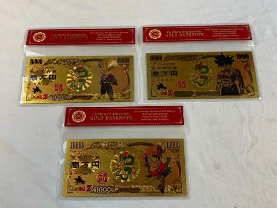 Lot of 3 24K GOLD Plated Foil DRAGON BALL Z Bills Novelty Collection Notes