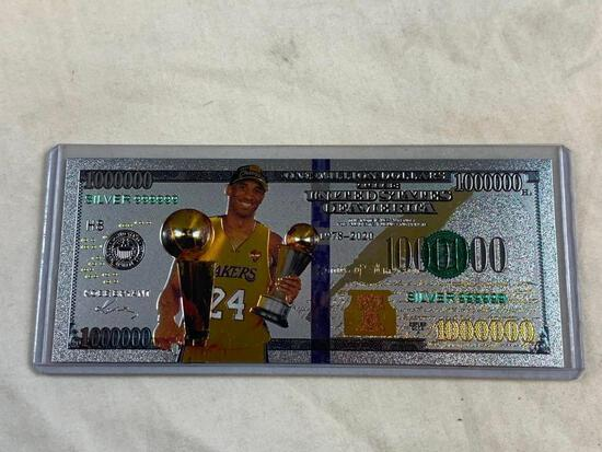 Silver Plated Foil Lakers KOBE BRYANT Bill Novelty Collection Note