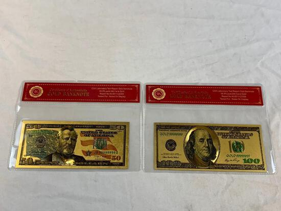 24K GOLD Plated Foil $100 and $50 Dollar Bill Novelty Collection Notes