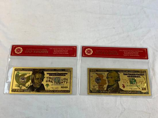 24K GOLD Plated Foil $10 and $20 Dollar Bill Novelty Collection Notes