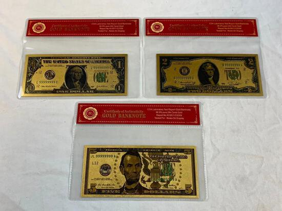 24K GOLD Plated Foil $1, $2 and $5 Dollar Bill Novelty Collection Notes