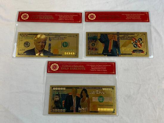 Lot of 3 24K GOLD Plated Foil DONALD TRUMP Bills Novelty Collection Notes