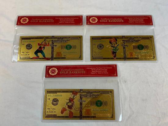 Lot of 3 24K GOLD Plated Foil WALT DISNEY Bills Novelty Collection Notes