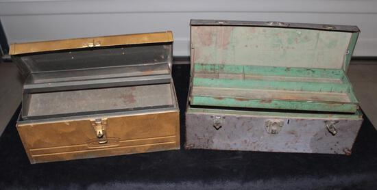 Lot of 2 tool boxes with tray